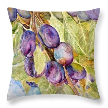 Plums On The Vine Throw Pillow