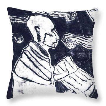 Poet Reading To Wind Clouds Otdv3 13 Throw Pillow