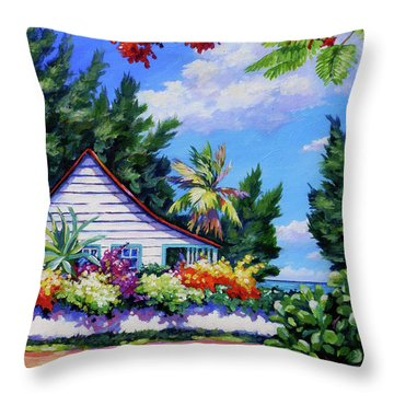 Poinciana And Cottage Throw Pillow