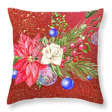 Poinsettia With Blue Ornaments  Throw Pillow