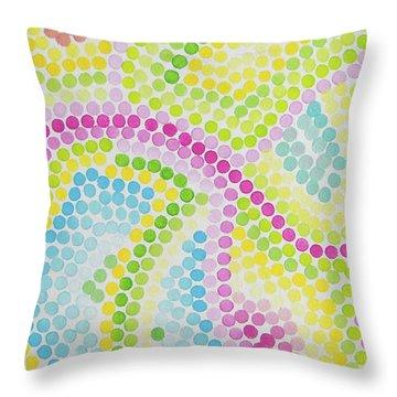Pointillism - Palm Beach Pink And Green Throw Pillow