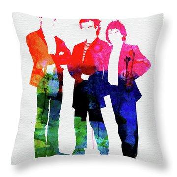 Police Watercolor Throw Pillow