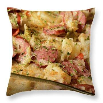 Throw Pillow featuring the photograph Polish Kielbasa Cuisine by Angie Tirado