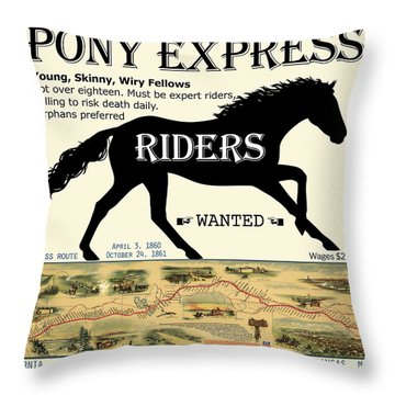 Pony Express Want Ad Throw Pillow