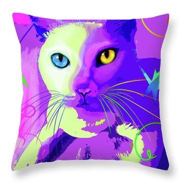pOp Cat Cotton Throw Pillow