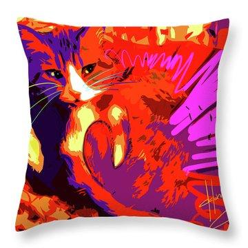 Pop Cat Tiger Throw Pillow