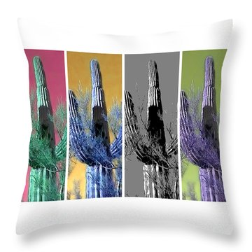 Pop Saguaro Cactus Throw Pillow