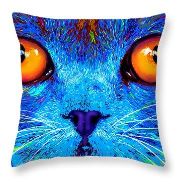 pOpCat Boe - Big Orange Eyes Throw Pillow