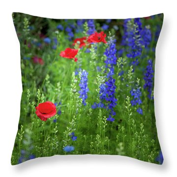 Throw Pillow featuring the photograph Poppies And Wildflowers by Mark Duehmig