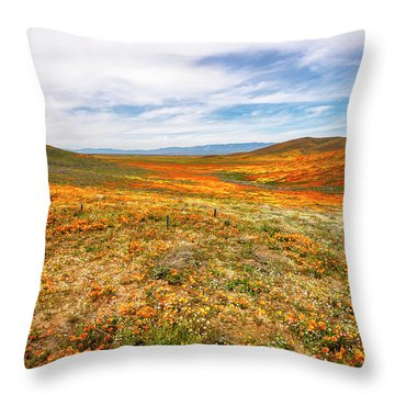 Poppies As Far As The Eye Can See Throw Pillow