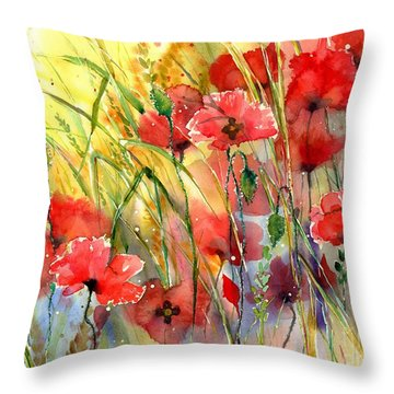 Poppies Bathing In The Sun Throw Pillow