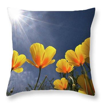 Poppies Enjoy The Sun Throw Pillow