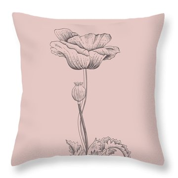 Poppy Blush Pink Flower Throw Pillow