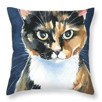 Poppy Calico Cat Painting Throw Pillow