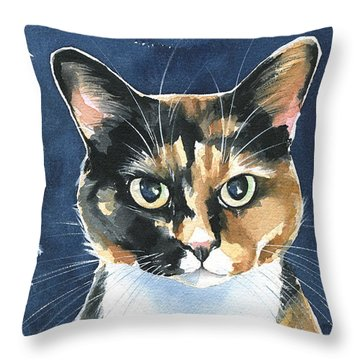 Poppy Calico Cat Painting Throw Pillow