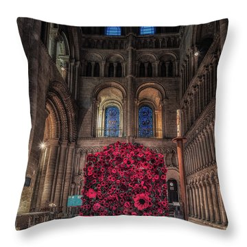 Poppy Display At Ely Cathedral Throw Pillow