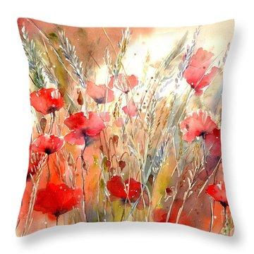 Poppy Fields Forever Throw Pillow