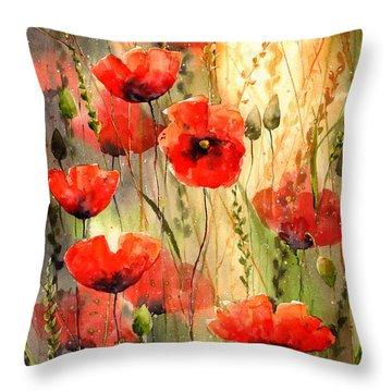 Poppy Serenade Throw Pillow