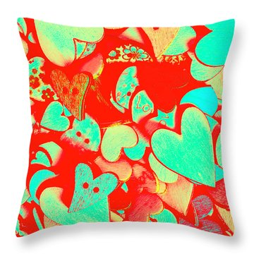 Pops Of Button Romance Throw Pillow
