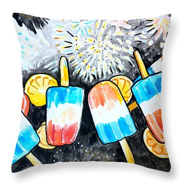 Popsicles And Fireworks Throw Pillow