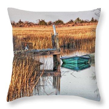 Poquoson Marsh Boat Throw Pillow