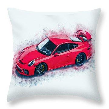 Porsche 911 Art Throw Pillow