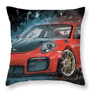 Porsche 911 Gt2 Throw Pillow