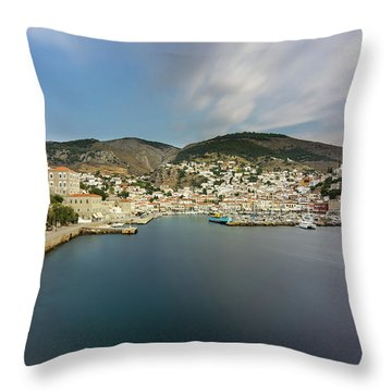 Port At Hydra Island Throw Pillow