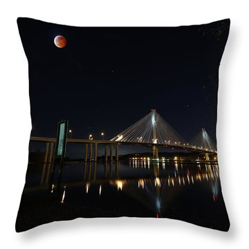 Port Mann Bridge With Blood Moon Throw Pillow