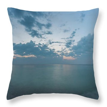 Port Oneida Beach 180 Degree Panorama Throw Pillow