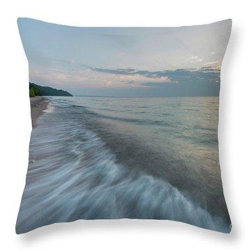 Port Oneida Beach Summer Waves Throw Pillow