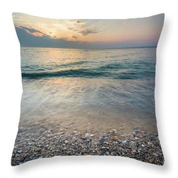 Port Oneida Beach Sunset Throw Pillow