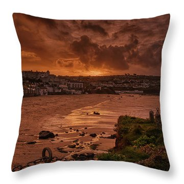 Porthmeor Sunset 2 Throw Pillow