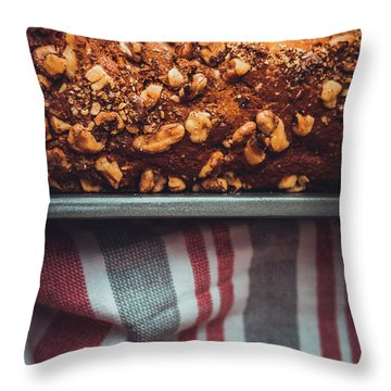 Portion Of Freshly Baked Banana Bread  Throw Pillow
