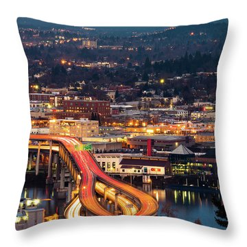 Portland At Night Throw Pillow