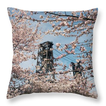 Portland Cherry Blossoms Throw Pillow