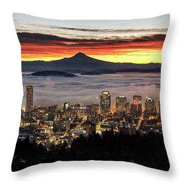Portland Foggy Sunrise Throw Pillow