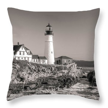 Throw Pillow featuring the photograph Portland Head Light Black And White by Dan Sproul
