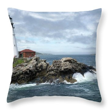 Portland Head Light House Throw Pillow