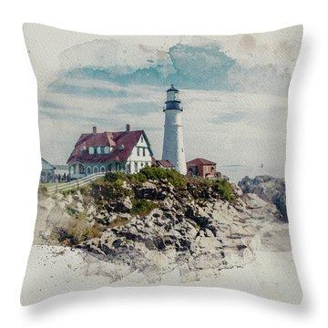 Portland Head Lighthouse Cape Elizabeth Maine Throw Pillow