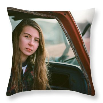 Portrait In A Truck Throw Pillow