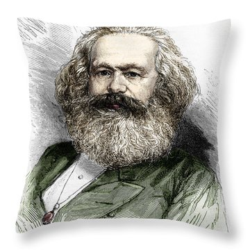 Portrait Of Karl Marx, Theorist Of Socialism And German Revolutionary Throw Pillow