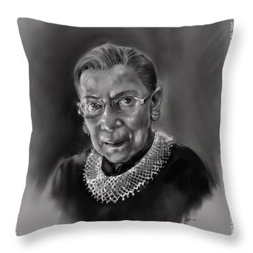 Throw Pillow featuring the mixed media Portrait Of Ruth Bader Ginsburg by Lora Serra