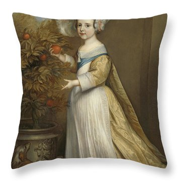 Portrait Of William IIi, Prince Of Orange, At The Age Of Four Throw Pillow