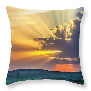 Powerful Sunbeams Throw Pillow