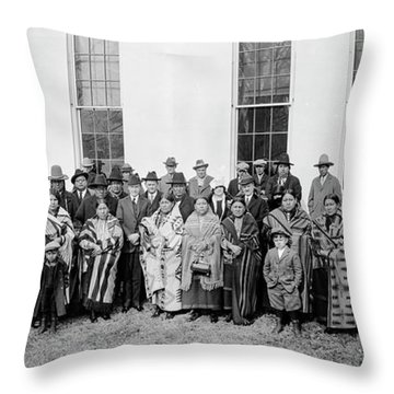 President Coolidge, Osage Indians Throw Pillow