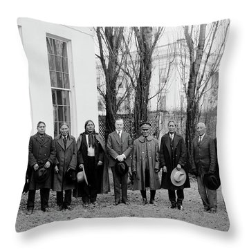 President Coolidge With Delegation Throw Pillow