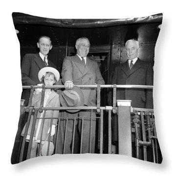 President Franklin Roosevelt Standing On Train - 1939 Throw Pillow