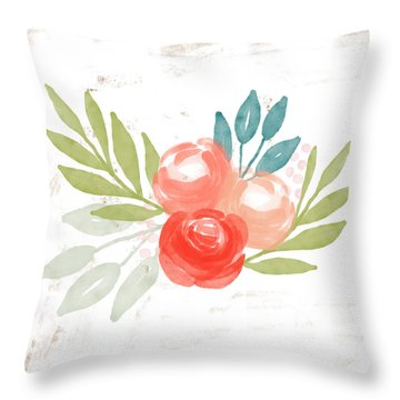 Pretty Coral Roses - Art By Linda Woods Throw Pillow