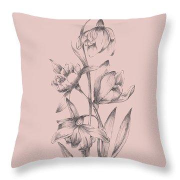 Pretty Pink Flower II Throw Pillow